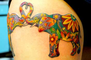 tattoo of two elephants