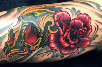 Tattoo of a skull and rose