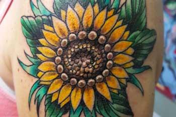 Tattoo of a sunflower
